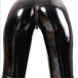 Black patent leather vinyl shiny romper jumpsuit